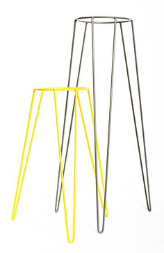 Wirely mid-century hairpin leg plant stands in two sizes. www.wirelyhome.com