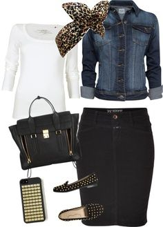 white t, pencil skirt, scarf and jean jacket