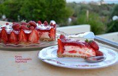 Τούρτα φράουλα με κρέμα γιαουρτιού Kai, Cream Crackers, Summer Treats, Greek Recipes, Nutella, Food Processor Recipes, Cheesecake, Easy Meals, Strawberry