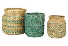 S/3 Sea Grass Storage Baskets, Green on OneKingsLane.com