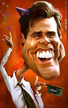 Caricature Jim Carrey - this just makes me happy and I thought you would appreciate it too lol.especially cuz he's wearing a cone birthday hat. Jim Carrey, Cartoon Faces, Funny Faces, Cartoon Art, Funny Caricatures, Celebrity Caricatures, Caricature Drawing, Caricature Artist, Funny Art
