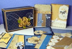 CTMH Pemberly Card Box Wendy Coffman     -love the blue & yellow!