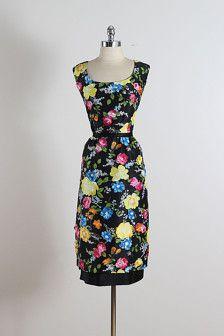 ➳ vintage 1950s dress  * black floral print silk * silk lining * additional layered floral accents * detachable tie belt * back zipper  condition | excellent  fits like l/xl  length 44 bodice 16 bust 42 waist 32 hips 44 hem allowance 1.5  ➳ shop http://www.etsy.com/shop/millstreetvintage?ref=si_shop  ➳ shop policies http://www.etsy.com/shop/millstreetvintage/policy  twitter | MillStVintage facebook | millstreetvintage instagram | millstreetvintage  5289/1542