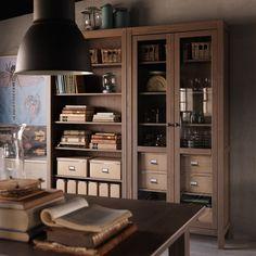 HEMNES grey-brown bookcase and glass-door cabinet
