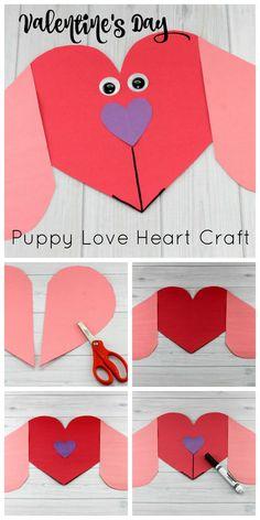 Puppy Love Preescolar Heart Craft para hacer este Día de San Valentín y manualidades # . - Puppy Love Preescolar Heart Craft para hacer este Día de San Valentín y artesanías - Valentine's Day Crafts For Kids, Fun Arts And Crafts, Valentine Crafts For Kids, Mothers Day Crafts, Valentine Day Crafts, Crafts To Make, Fun Crafts, Puppy Valentines, Homemade Valentines