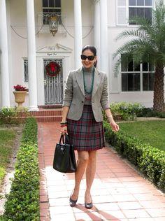 Susana Fernandez | A Key to the Armoire -- I like the shorter tartan skirt paired with gray-on-gray jacket/mock turtleneck