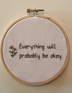 Everything Will Probably Be Okay Cross by MerchantHandcrafts