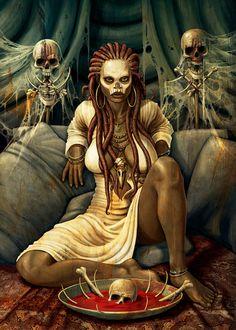 Black Love Art, Black Girl Art, Character Portraits, Character Art, African Voodoo, Voodoo Tattoo, Queen Art, Witch Art, Magic Art