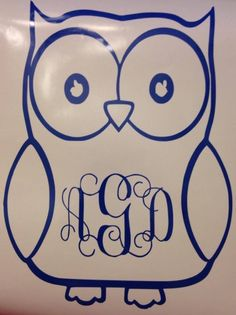 owl decal with initials  by BRITTANYSBOWSNMORE on Etsy https://www.etsy.com/listing/216309158/owl-decal-with-initials