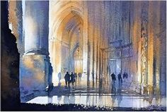 Cathedral - St. John the Divine - NYC by Thomas W. Schaller Watercolor ~ 14inches x 20 inches
