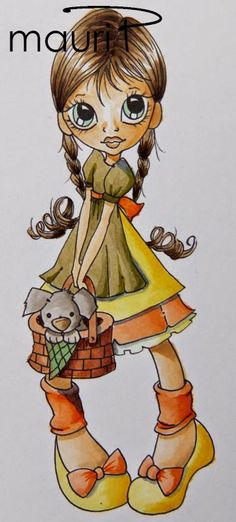 Copic Italy: TUTORIAL: we color in meadow - Skin: E 50-51-53 Hair: 47-43-42 E Skirt: YG97-Y11-95-91 15-18 65-68 YR61- warmers and bow shoes: YR61 -65-68 Shoes: Y 11-15-18 Trash: It 11-13-15-18 Puppy: W 1-3 and 53-51 Handkerchief: YG61 Grass: YG 91-95-97 Sassi: W 1-3 - 5