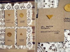 adore these cards with golden discs, the contrast with the black stamped text is gorgeous ~ maybe something like this could be achieved with gold leaf & stencils for something a bit simpler than hammering metal discs ~ would be great for business cards or notecards