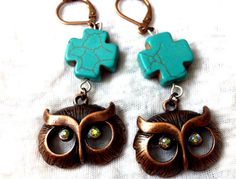 Owl with Crystal Eyes Turquoise Cross Earrings by Hankat on Etsy, $17.00