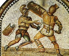 Mosaic of gladiators fighting with swords, helmets and shields