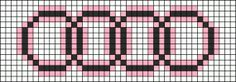 Audi symbol X-stitch chart Pony Bead Patterns, Perler Patterns, Beading Patterns, Stitch Patterns, Knitting Charts, Lace Knitting, Knitting Patterns, Hama Beads, Pixel Art Logo