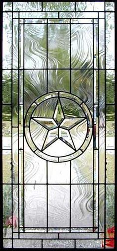 Custom leaded glass Texas Star bevel window~would be great in the front door! Not in my front door. It's already on State admin buildings in Austin.
