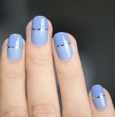 Blue nails with a little detail.
