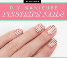 This pinstripe nail looks even better when it's a little crooked. | 27 Lazy Girl Nail Art Ideas That Are Actually Easy