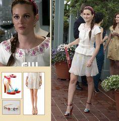 Blair's pleated skirt and red studded hangbag on Gossip Girl season 6.  Outfit Details: https://wornontv.net/5367/ #GossipGirl