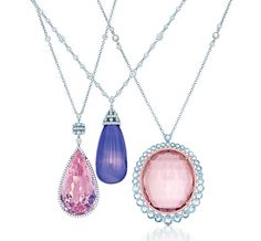 09c0ff4ec Tiffany pendants with diamonds and gemstones in platinum, from the 2013  Blue Book Collection (from left): pear-shaped morganite, tanzanite drop, ...
