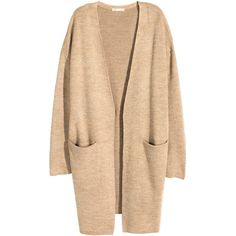 H&M Long cardigan ($38) ❤ liked on Polyvore featuring tops, cardigans, beige marl, marled cardigan, h&m cardigan, beige top, beige cardigan and h&m