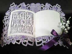 Happy anniversary feliz aniversario spanish on Craftsuprint designed by Amanda Davis - elegant open book cutfile, comes in layers easy to put together - Now available for download!