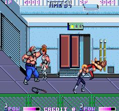 Double Dragon II was such a satisfying beat-em-up.  You got to be an action hero, kicking the crap out of gang members, left and right.  You even got to throw knives, swing chains and shovels, etc.  I don't know why, but the fat guys with the masks always scared me.  Billy and Jimmy made a funny moaning sound whenever they died, though.