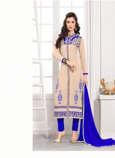 Be your own style icon with cream georgette churidar salwar suit. You will see some interesting patterns completed with embroidered, lace and resham work. Comes with matching bottom and dupatta. (Slig...