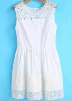 White Sleeveless Contrast Lace Pleated Dress - Sheinside.com