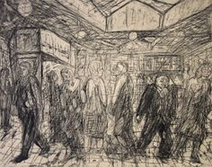 Leon Kossoff Going Home [stage proof] Dowker; not editioned Not inscribed Presented by the artist 1986 Lit: Elizabeth Underhill, ' Outside Kilburn Underground by Leon Kossoff' Leon Kossoff, Drawing Projects, A Level Art, Painting People, Art Themes, London Art, Going Home, Fine Art Prints, Lino Prints