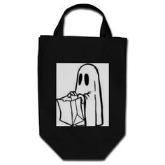 TRICK OR TREAT BAG BLACK AND WHITE GHOST