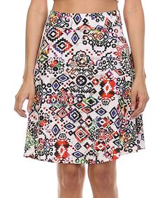 Love this Coral & Lime Eclectic A-Line Skirt by A La Tzarina on #zulily! #zulilyfinds