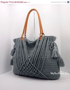 ON SALE Crochet grey boho handbag with tassels by MyNicePurses, $88.00