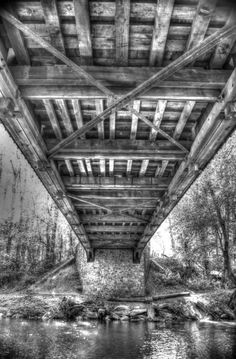 """Under the covered bridge"" from the Black & White Collection for sale on http://www.photography.amishroadshow.com"