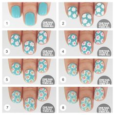 Pastel Blue Flower Nail Design