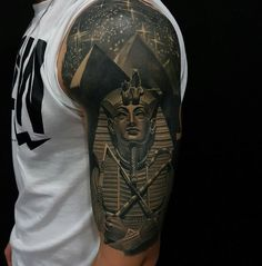 Tutankhamun & Pyramids Half Sleeve http://tattoo-ideas.com/egyptian/