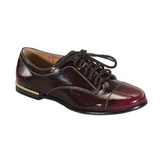 Qupid Burgundy Strip Oxford ($12) ❤ liked on Polyvore featuring shoes, oxfords, shiny shoes, rubber sole shoes, oxford shoes, burgundy oxford shoes and burgundy oxfords