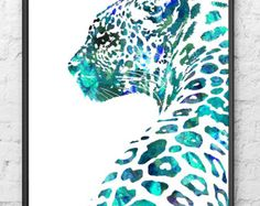 Watercolor Art Print Leopard, Animal Painting, Aqua Home Decor, Animal Art, Watercolor Print Painting Home Decor - - Trend Kunst Bleistift 2020 Art Aquarelle, Art Watercolor, Watercolor Animals, Watercolor Illustration, Painting Prints, Painting & Drawing, Art Prints, Blue Painting, Painting Canvas