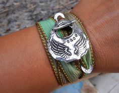 Peace Bracelet, Teen Gift for Her Jewelry, Angel Wings Silk Ribbon Bracelet, Inspirational Quote Adjustable Wrap Bracelet, in Seaweed Green on Etsy, $49.95