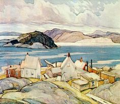 """""""Jackknife Village"""" Franklin Carmichael a founding member of the Group of Seven, was remembered by A. Jackson in his autobiography, as """"a lyrical painter of great ability and a fine craftsman. Emily Carr, Tom Thomson, Canadian Painters, Canadian Artists, Maurice Denis, Edouard Vuillard, Henri Matisse, Group Of Seven Art, Franklin Carmichael"""