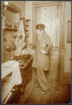 """Allison at her kitchen stove, dying scarves, ca. from New York's Bohemian Greenwich Village – Jessie Tarbox Beals – was an American photographer, the first published female photojournalist in the United States"