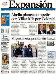 Los Titulares y Portadas de Noticias Destacadas Españolas del 6 de Junio de 2013 del Diario Expansión ¿Que le parecio esta Portada de este Diario Español?