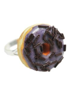 Light Purple Frosted Donut w/ Chocolate Sprinkles Adjustable Statement Ring - Polymer Clay Jewelry - Food Jewelry
