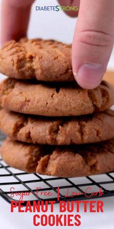 Sugar Free Peanut Butter Cookies, Sugar Free Cookie Recipes, Low Carb Cookies, Sugar Free Snacks, Sugar Free Baking, Low Carb Peanut Butter, Sugar Free Desserts, Healthy Cookies, Low Carb Desserts