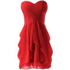 Dressystar Dressystar Chiffon Bridesmaid Dress Short Sweetheart... ($30) ❤ liked on Polyvore featuring dresses, gowns, short dresses, red, vestidos, red chiffon dress, short evening dresses, red evening dresses, short homecoming dresses and bridesmaid gowns