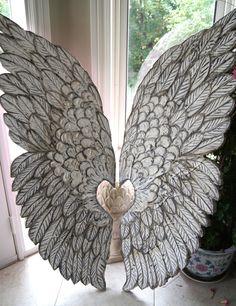 Distressed Metal Angel Wings In Grey Mediterranean Home Decor