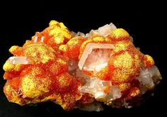 TABULAR BARITE CRYSTALS ON ORANGE BOTRYOIDAL ORPIMENT FROM PERU