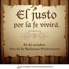 Romanos 5:1 Justificados, pues, por la fe, tenemos paz para con Dios por medio de nuestro Señor Jesucristo.   Martín Lutero clavó sus 95 Tesis en la iglesia de Witenberg el 31 de octubre de 1517, desatando con ello el movimiento de Reforma.