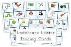 Lowercase letter tracing cards for children to use when practicing letter formation from Homeschool Creations.