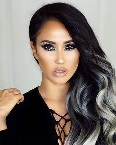 New Hair Silver Black Eye Shadows 37 Ideas Black To Silver Ombre, Silver Ombre Hair, Charcoal Hair, Ombre Hair Extensions, Balayage Hair, Gorgeous Hair, Dark Hair, New Hair, Hair Inspiration